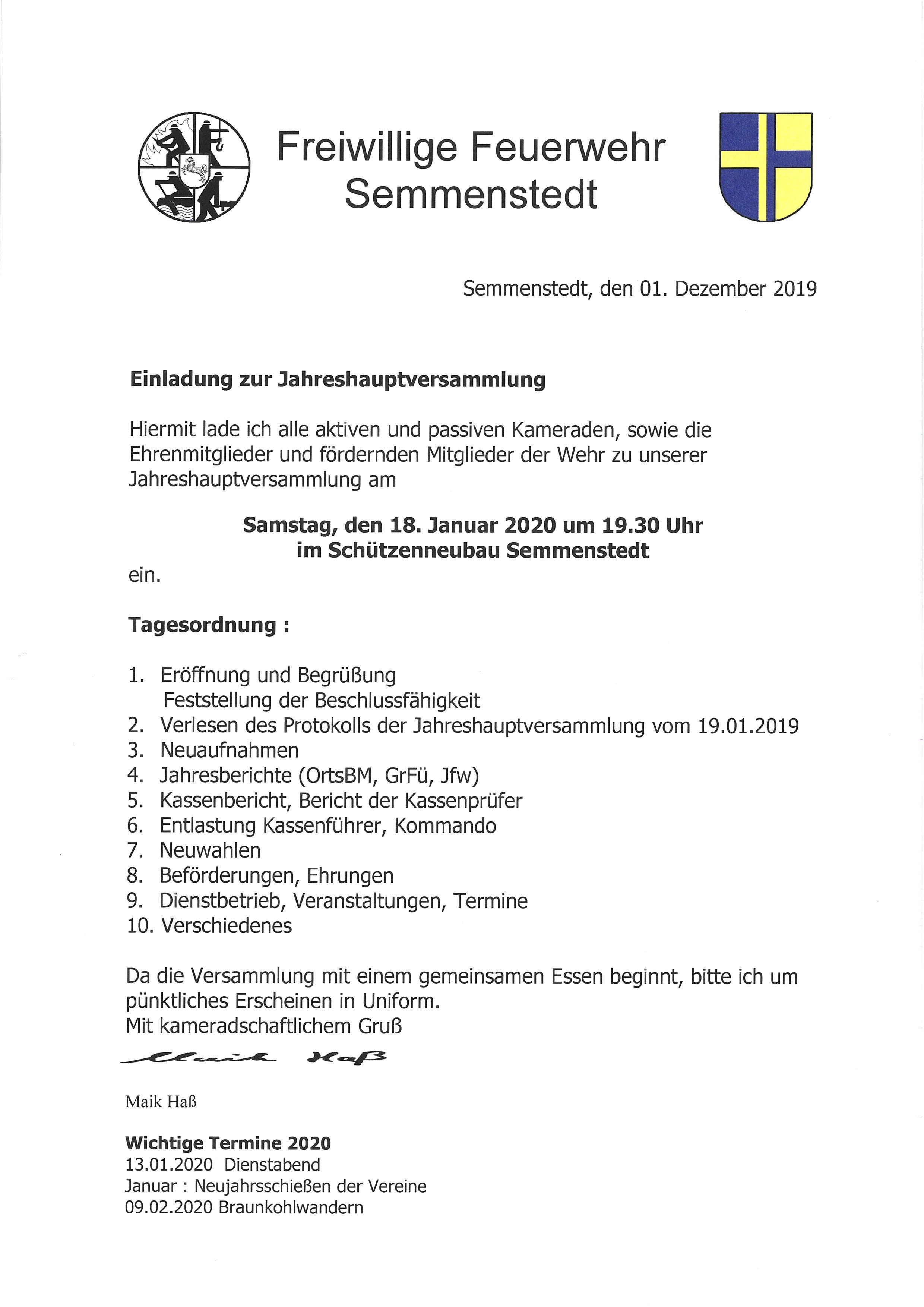 JHV Freiw. Feuerwehr Semmenstedt 19.30 Uhr @ Semmenstedt Schützenneubau